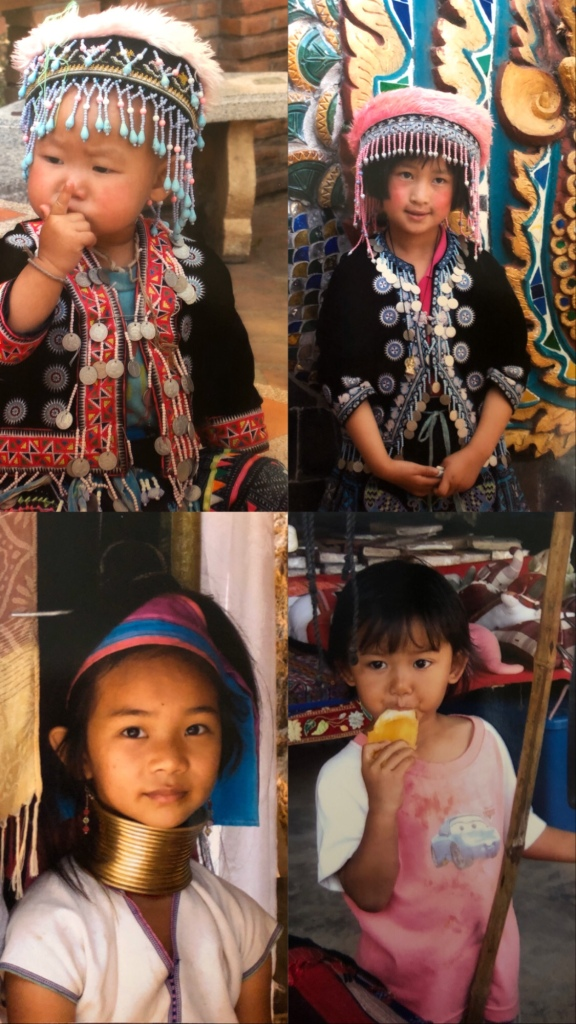Children on the Karn tribe in Chiang Rai, Thailand. Also known as the long-neck women