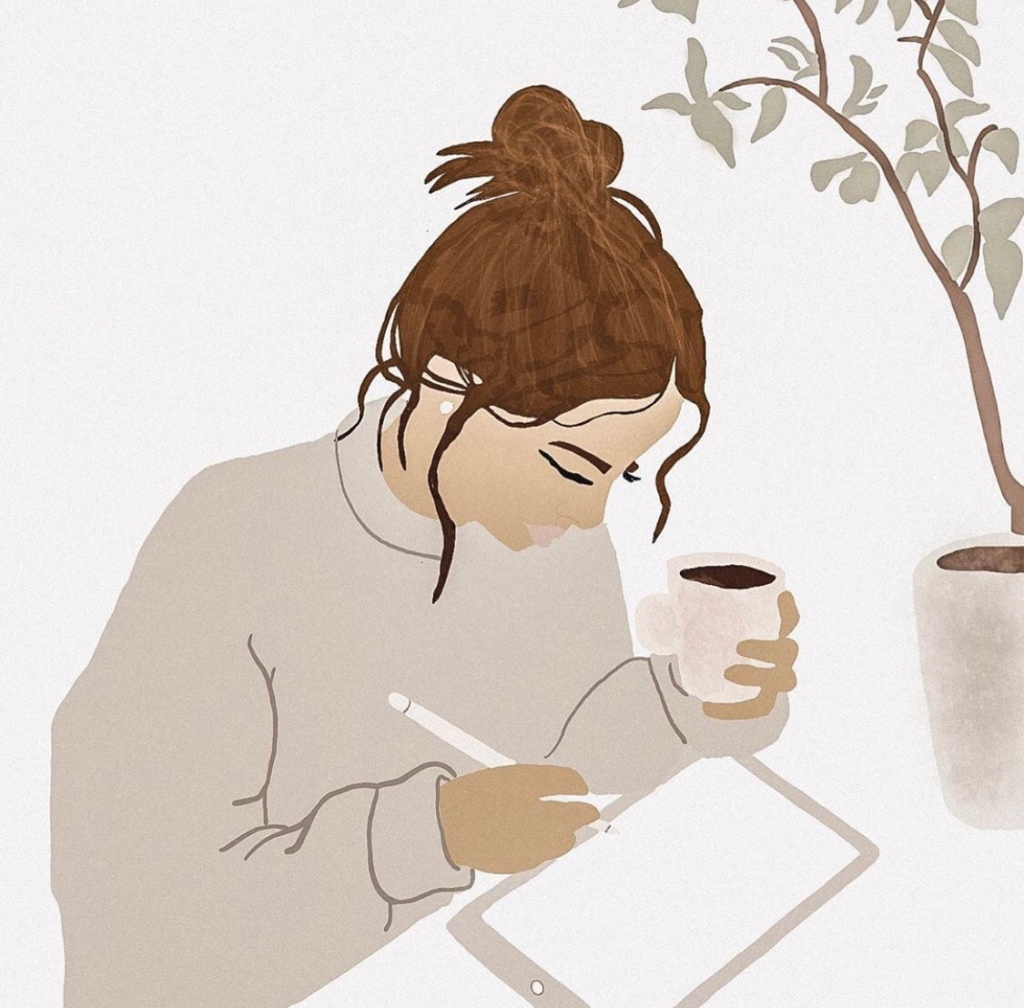 Boss girl drinking coffee and reading on her ipad. Pastel tones. Digital artwork.