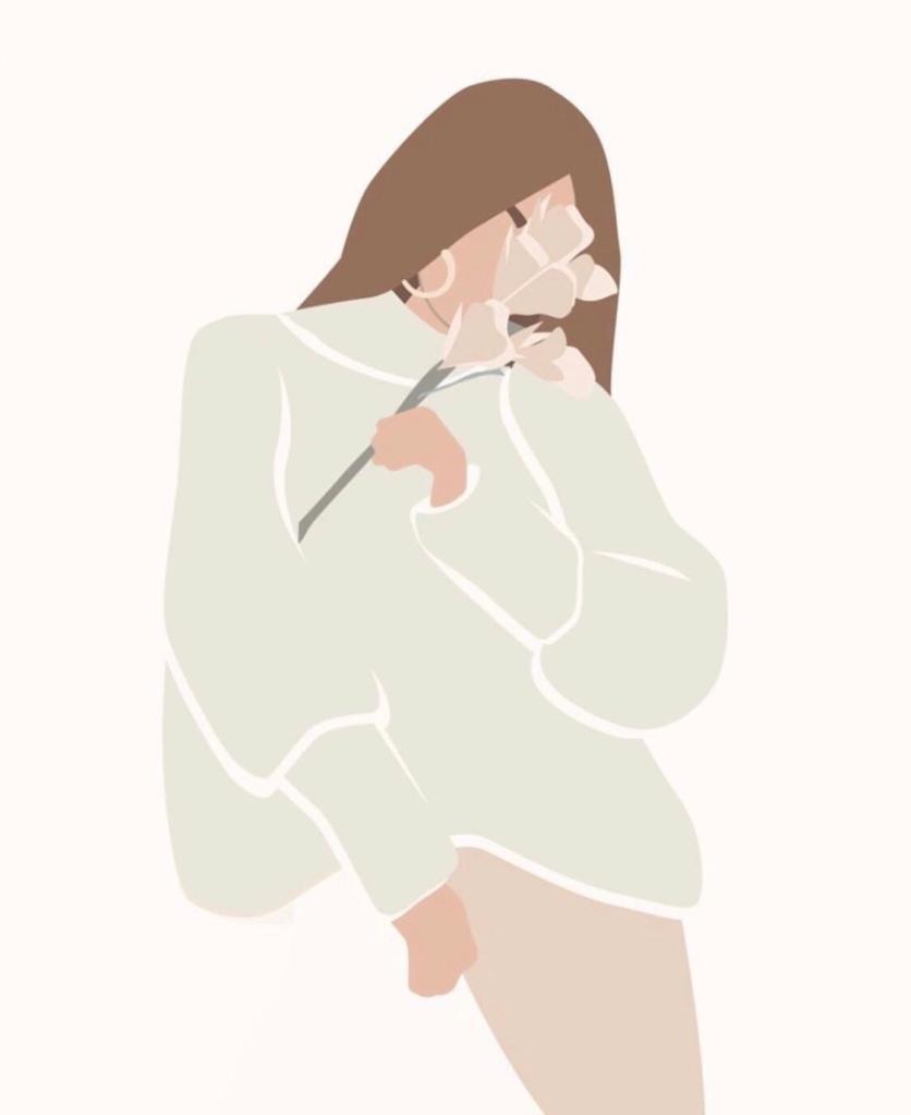 Woman smelling a flower . Pastel tones. Digital artwork.