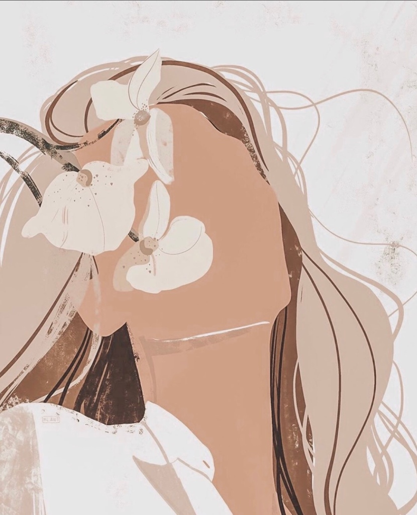 Girl face smelling flowers. Pastel tones. Digital artwork