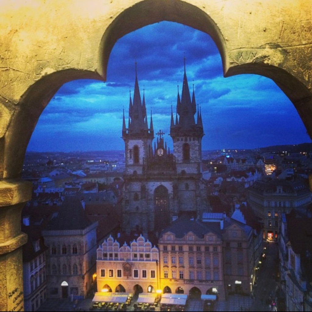 View from the top of the Astrological Clock Tower in Prague, Czech Republic