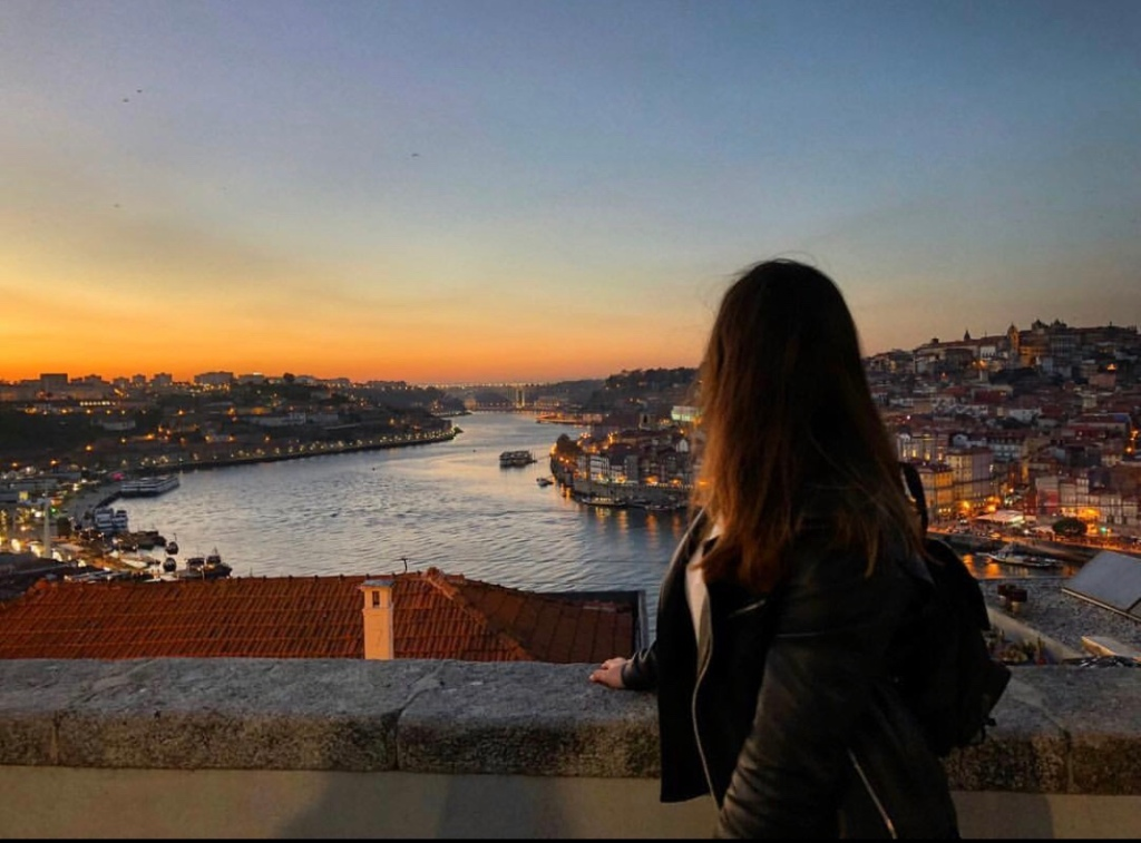 Sunset by the River in Porto, Portugal