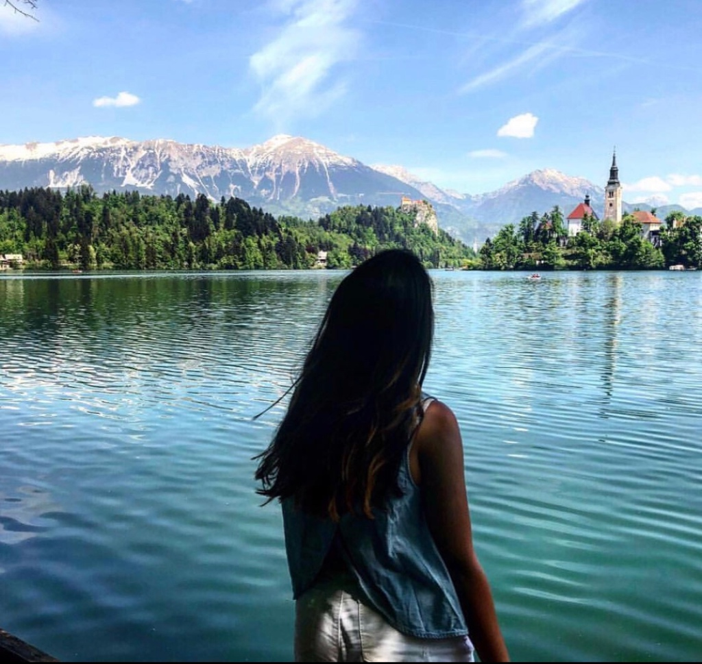 Girl by the lake Bled, Slovenia