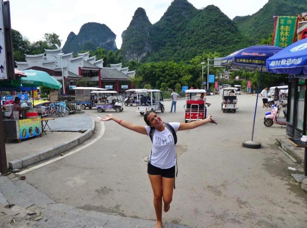 Girl wearing shorts in the mountains of Yangshuo, China