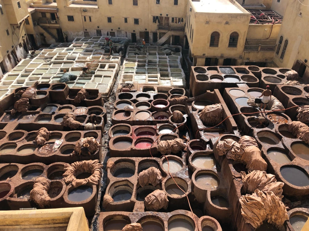 Colourful tanneries in Fez, Morocco
