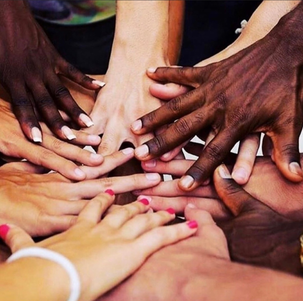 Hands  with different skin tones. Fight racism