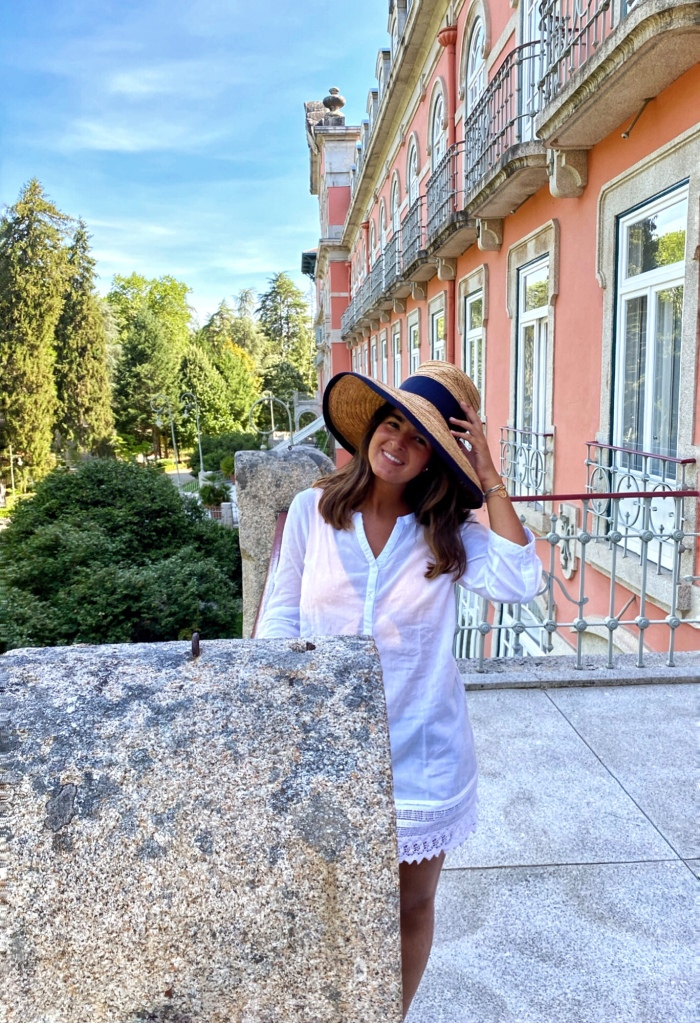 Girl at the balcony of Vidago Palace Hotel in Portugal