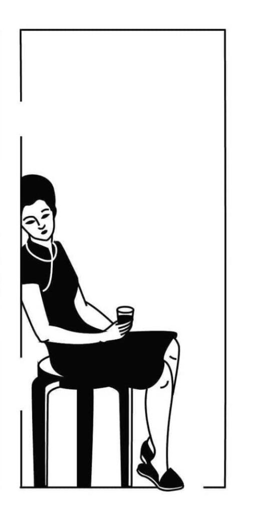 Sad woman sitting and drinking. Digital artwork. Black and white