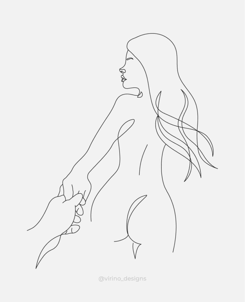 Empowered woman naked holding hands
