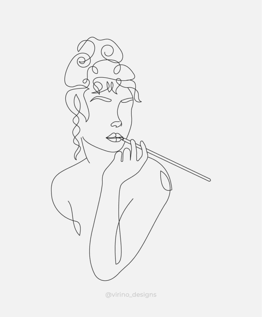 Empowered woman smoking a thin cigarette black and white artwork  instagram